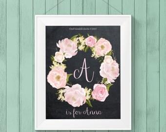 custom monogram sign, digital roses artwork, printable chalkboard artwork, printable wall art, custom name sign, you print, 8x10
