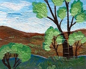 Summer - Aceo Original Painting - landscape nature Artwork Acrylic miniature Painting