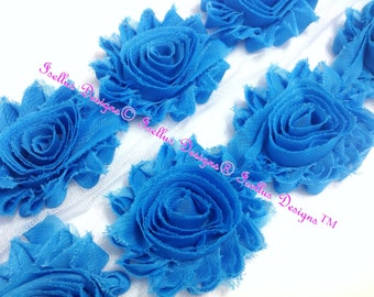"6 Piece  2.5"" Turquoise Shabby Flower"