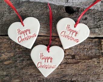 Handmade Christmas Decorations or Gift Tags - Set of Three, Happy Christmas Hearts