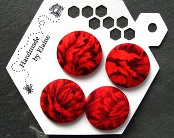 Fabric Covered Buttons - 4 x 27mm buttons, red button, flower button, carnation button, scarlet floral button, large handmade button, 0929