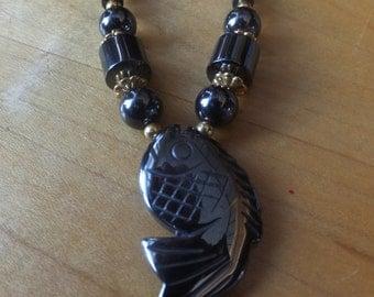 Hematite Fish Necklace