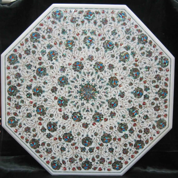 Marquetry Marble Coffee Table: Marble Inlay Coffee Table Top / Stone Inlaid Tables With