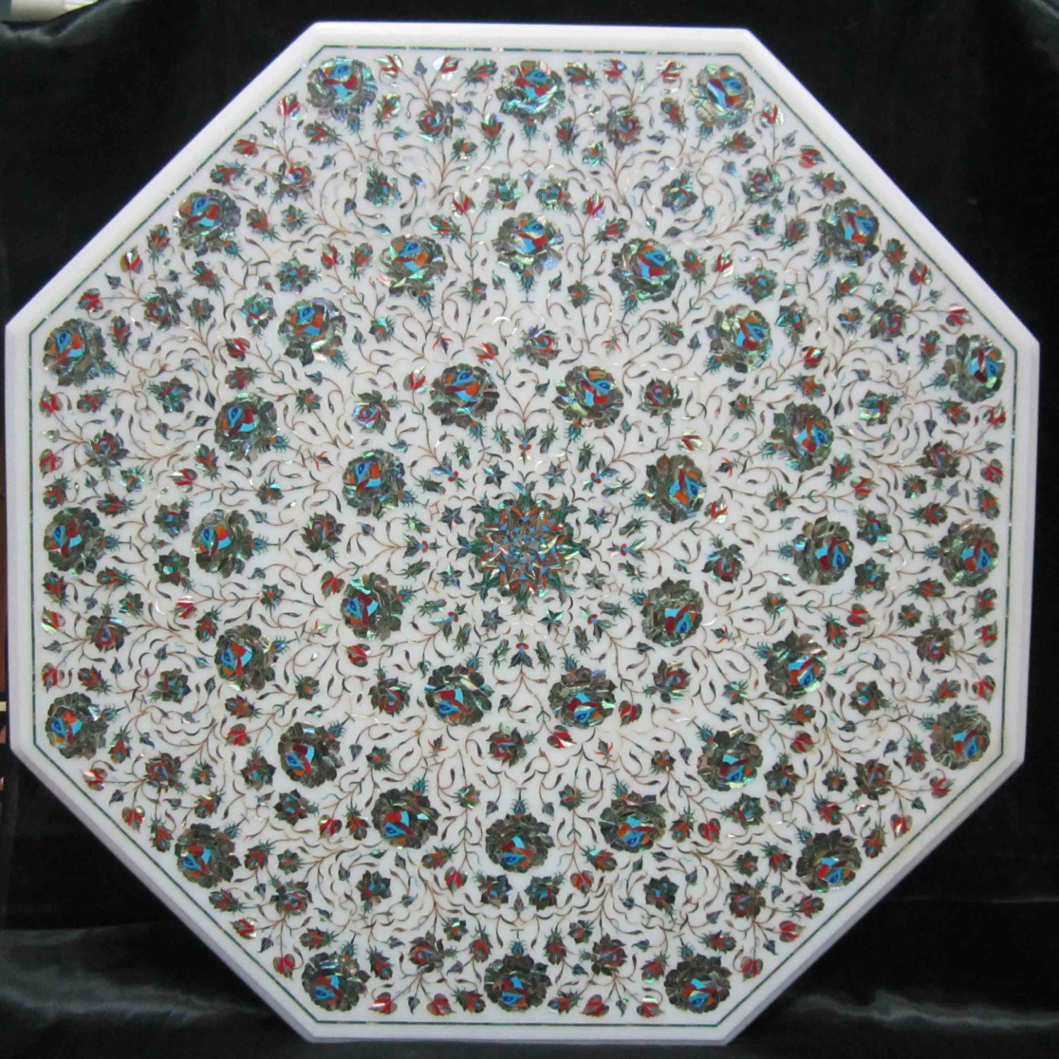 Marble Inlay Table Tops : Marble inlay coffee table top stone inlaid tables with