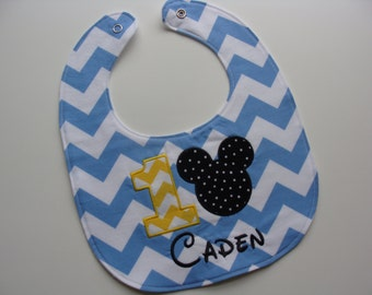 Mickey Mouse birthday baby bib for first birthday baby boy personalized in blue chevron - party theme