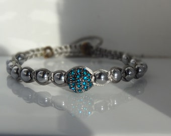 Teal Pave' and Hematite Macrame Bracelet