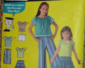 Pattern For  Girl's Tops, Skirt, Shorts and Capri Pants  - Sizes  7, 8, 10, 12, 14 - Simplicity Sewing For Dummies S 4206