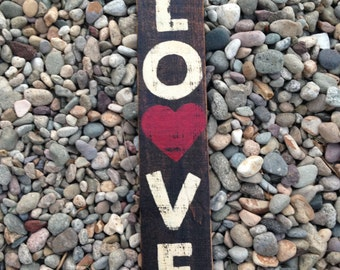 "Handmade distressed ""LOVE"" wood sign"