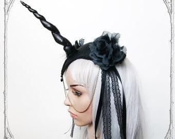 Unicorn Queen Fascinator (Goth, Gothic, Costume, black, headpiece )