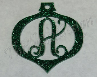 4 inch Customized Acrylic Ornament Monogram - Christmas Ornament - Initial Vine Monogram