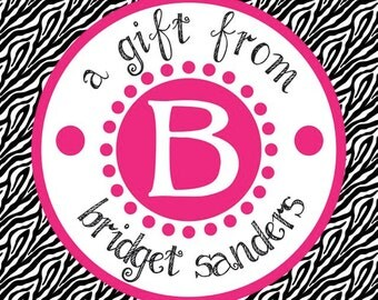 Zebra and Pink Dot Square Initial Gift Tag