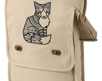Fox Bag, Fox Canvas Bag, Doodle Fox Embroidered Canvas Field Bag