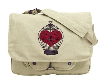 Captured Embroidered Canvas Messenger Bag