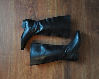 25% OFF knee high boots / tall black leather boots / long black riding boots / leather pull on boots 6