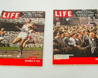 Lot of 2 Life Magazines 1956 Bobby Morrow Olympic Sprint Champ and Eisenhower in Minneapolis
