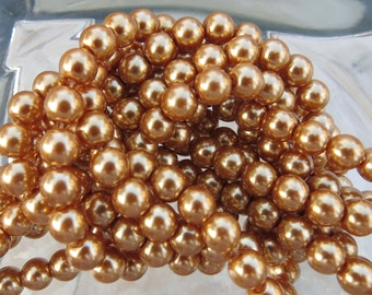 6mm Gold Colored Glass Pearl Strand 16in. (i132)