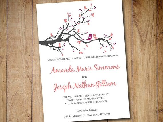 Bird Wedding Invitation: Love Bird Wedding Invitation Template