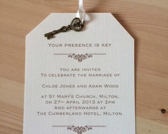 Wedding Invitation - Presence is key - Vintage Luggage Tag/Label -Ivory Card