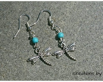 Dragonfly Earrings with Turquoise Blue Bead