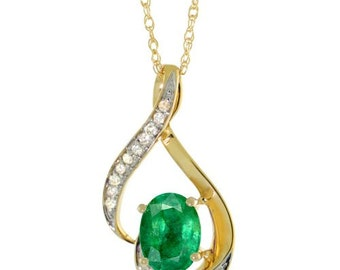 14K Yellow Gold Natural Emerald Pendant Oval 7x5 mm, 3/4 inch long