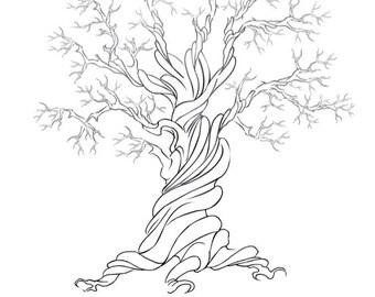 leinwand hochzeit tree guest book hand gezeichnet. Black Bedroom Furniture Sets. Home Design Ideas