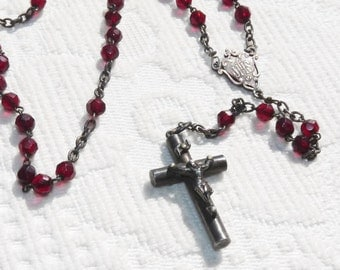 Rosary, Vintage French With Hand Cut Garnet Coloured Art Glass Beads