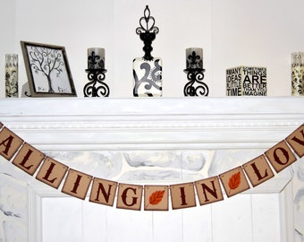 FALLING IN LOVE Banner - Bridal Shower Banner - Banners Rustic Style - Fall in Love Banner