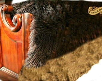 Fur Accents Faux Fur Bedspread / Brown Shag Bear with Coyote Fur Border