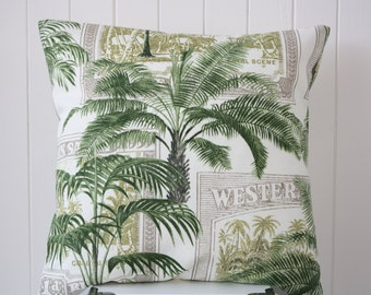 "Outdoor / Indoor Handmade Tropical Palm 45cm x 45cm - 18"" x 18"" Cushion / Pillow Cover - Hampton - FREE SHIPPING"
