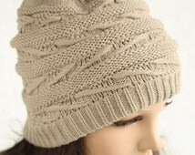 Three styles / Slouchy hat beanie crocheted   Positive and negative Blending knitted hat  Women Teens   Fall Winter Fashion  Chunky Beret