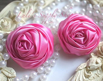 """2"""" Large Satin Ribbon Roses - Set of Two - Rolled Rosettes - Hot Pink Satin Rolled Rosettes - Large Satin Roses - Hot Pink Satin Flowers"""