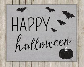 8x10 Happy Halloween Print, Typography Art, Gray Print, Bat Wall Art, Digital Art, Art Poster, Halloween Decor, Fall Decor, Instant Download