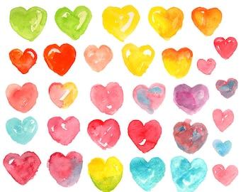 Watercolor Clipart - Watercolor hearts - Heart Clip art - Hand painted Clip art  illustration
