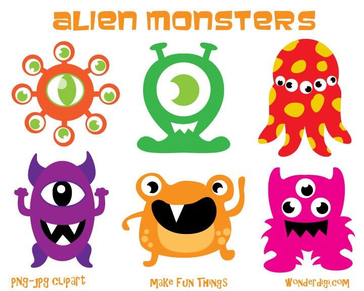 Monsters Clipart Aliens clip art Kids party by wonderdigi