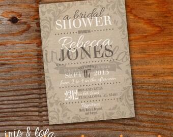Canvas Floral Bridal Shower Printable Digital Invitation