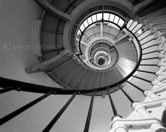 Lighthouse Staircase, B&W Photo, View Camera, Architecture, Print, FREE SHIPPING