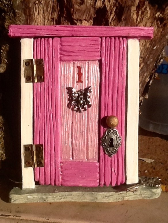 Hinged 5 Wood Grain Style Fairy Door For