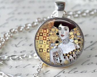 GUSTAV KLIMT Pendant Necklace - Adele Bloch-Bauer  - Art Necklace Handmade Glass Pendant Art Nouveau Modern Art