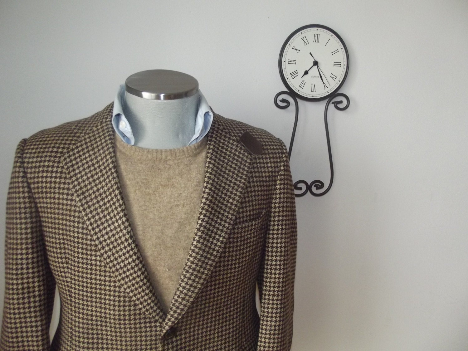 1960s CHARLES CHRISTIAN Houndstooth Tweed Suit Jacket with