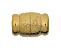 Magnetic Clasp in Gold or Silver with  Etched and Shiny Finish, Inside Diameter 12mm