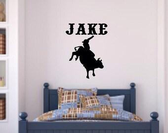 Personalized Boy's Room Bullrider Cowboy Vinyl Wall Decal