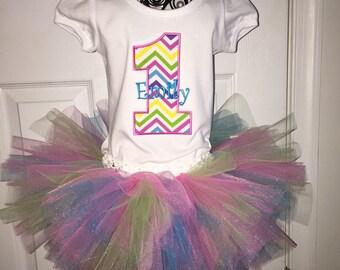 Birthday Shirt and Tutu - Cake Smash Outfit - Tutu and Personalized Shirt - First Birthday