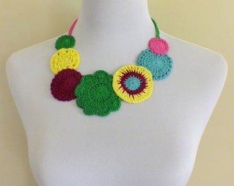 crochet bohemian inspired statement doily necklace