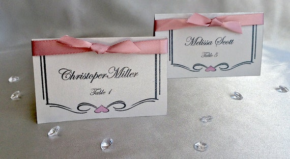 Elegant Wedding Place Cards with Satin Ribbon Fancy Wedding