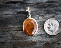 Sunstone Sterling Silver pendant - Faceted Sunstone Necklace - Sunstone Jewelry - Sunstone and Sterling Silver Pendant