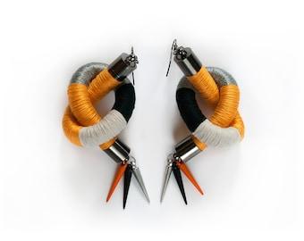 Statement Earrings, Fiber Thread Wrapped Earrings, Cord Earrings, Colorful Tribal Earrings, Funky Spike Earrings, Yellow, Grey, Black, Ivory