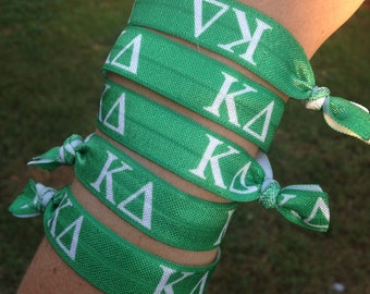 Set of 5 Kappa Delta-Themed Fold Over Elastic Hair Ties or Headbands