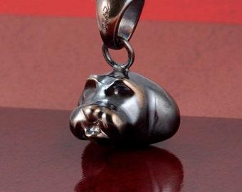 Shih tzu dog handcrafteded sterling silver necklace 3D