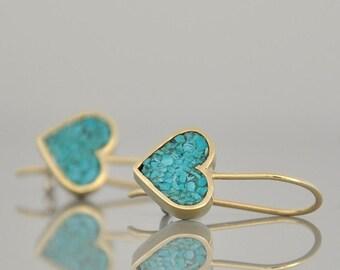 14k Gold Earrings , Heart Earrings , Turquoise Gold Earrings , Solid Gold Love Present , Dangle Earrings
