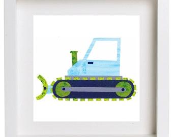 Art Print for Kids, Kids bedroom or Nursery wall art, Bedroom Decor: Construction Print - Bulldozer